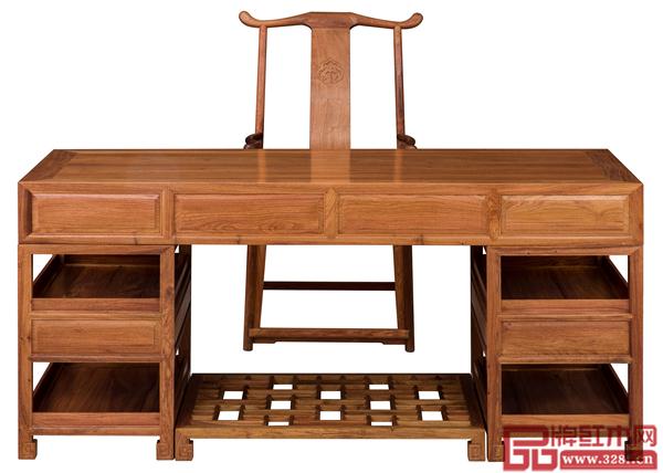 南枝红《缅甸花梨1.8米素面办公桌二件套》