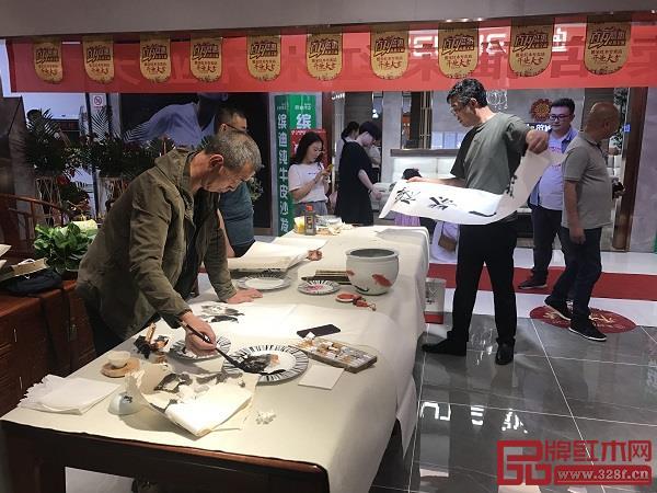 雅宋千赢国际入口胶州旗舰店开业活动现场举办书法品鉴会