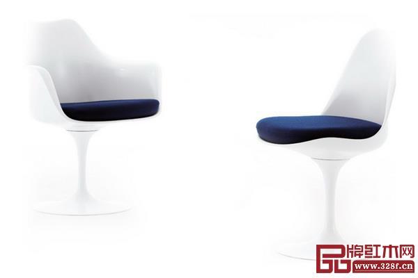 新材料更好地诠释了体态轻盈、简洁又富律动的家具,如沙里宁的郁金香椅拥有曲线外形、模压塑料椅面和独特的基座
