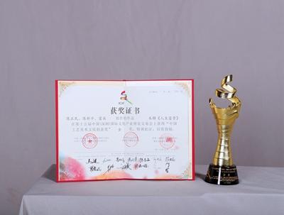 中国工艺美术文化创意奖金奖证书及奖杯
