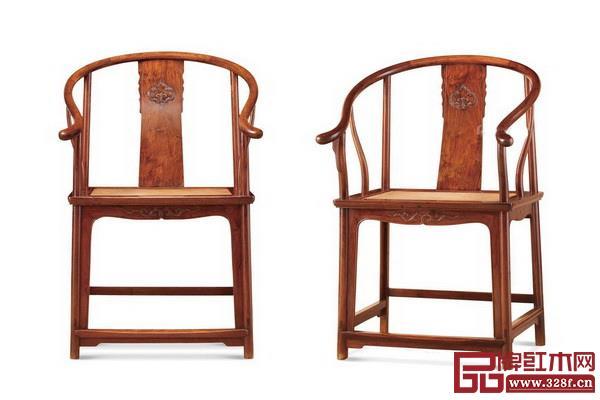 清早期 黄花梨双螭龙如意纹圈椅(一对)