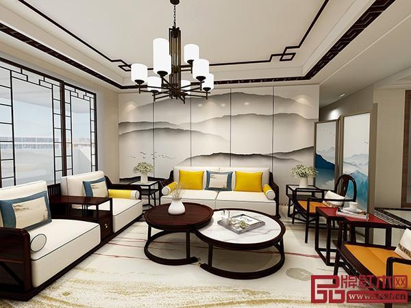 东成文宋系列客厅空间,在泼墨山水画里找到家的归属感