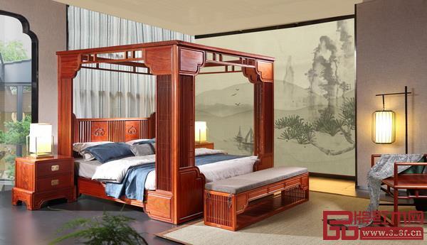 """现代改良设计的架子床(国寿亚博体育下载苹果新明式""""世外桃源""""品牌《君尚架子床》)"""