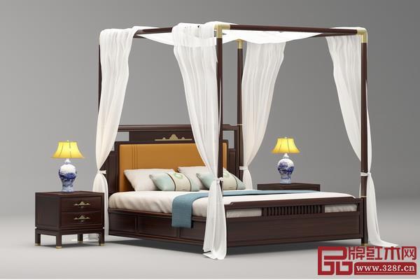 """现代改良设计的架子床(印巷森刻""""喜上梅梢""""系列《赏梅架子床》)"""