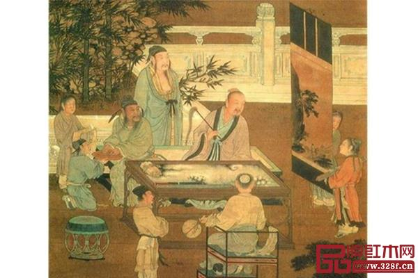宋画里出现诸多不同功能的家具(《十八学士图·观画》)