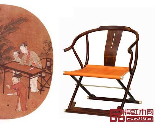 东成文宋《交椅》与《蕉荫击球图》中的交椅神似