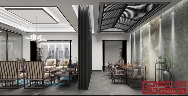 司设房新中式展厅空间设计中的留白,也称为负空间,并不一定是白色,而是为了舒适的视觉对象和审美需求,创造出一个强大的视觉焦点,并为它带来呼吸的空间