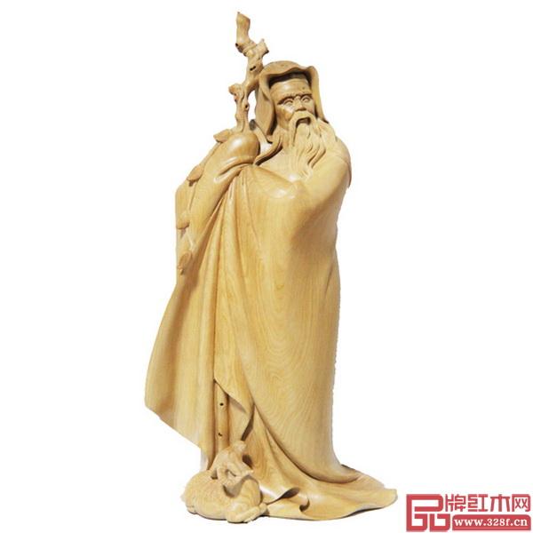 中国工艺美术大师林庆财木雕作品——《苏武牧羊》,该作品曾获第二届中国国际礼品展览会(工艺类)金奖