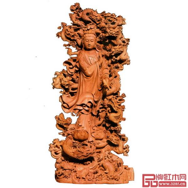 中国工艺美术大师林庆财木雕作品——《九龙观音》,该作品曾获第五届国家级工艺美术大师精品展金奖
