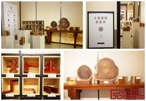 中国国寿红木家居文化艺术馆内策划的大果紫檀展览馆展示了木材的多种形态
