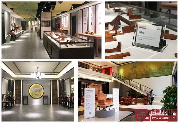 雅宋红木展厅文化融入《千里江山图》,体现出追求宋代美学的品牌定位