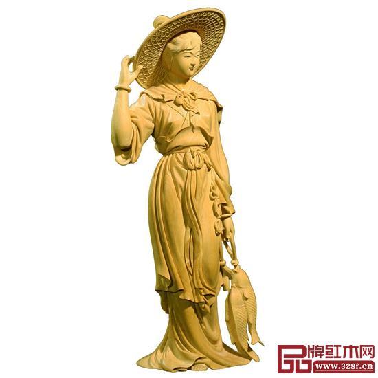 林庆财大师木雕作品——黄杨木雕《渔家女》