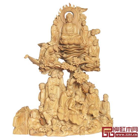 林庆财大师木雕作品——檀香木雕《十八罗汉》