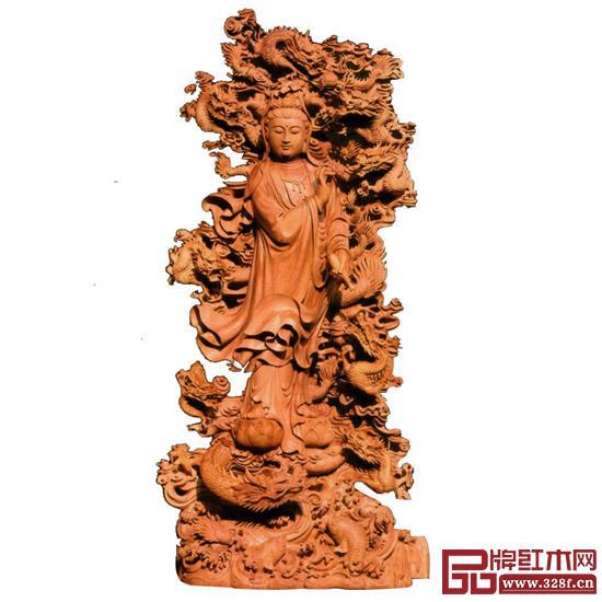 林庆财大师木雕作品——檀香木雕《九龙观音》