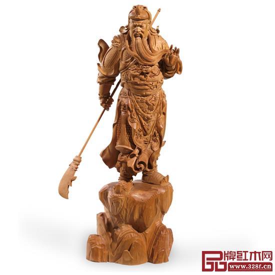 林庆财大师木雕作品——檀香木雕《关公》