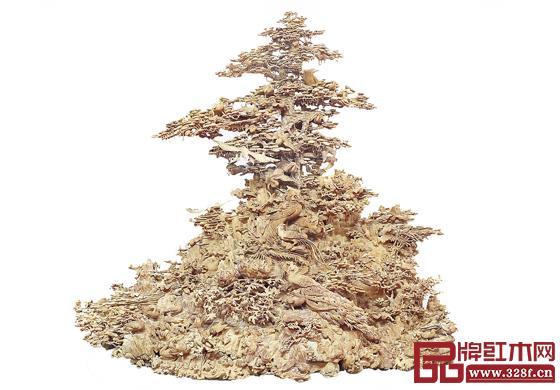 林庆财大师木雕作品——檀香木雕《百鸟朝凤》