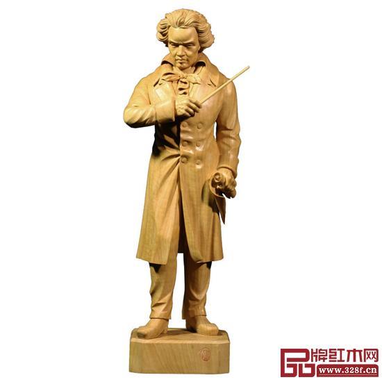 林庆财大师木雕作品——黄杨木雕《贝多芬》