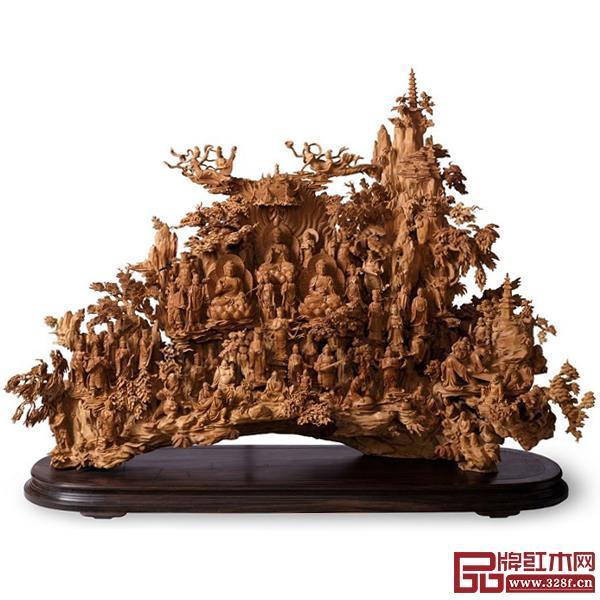 林庆财大师木雕作品——檀香木雕《群仙聚会》