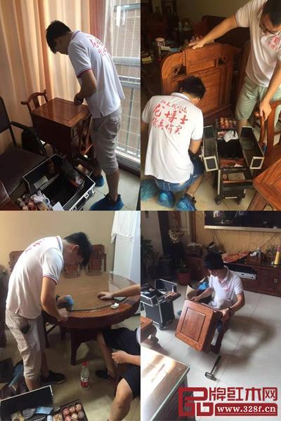 """龙博士家具:龙博士家居服务团队正细心帮客户家中的红木家具做检查、""""美容"""""""