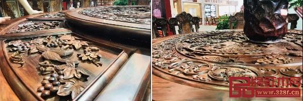 """明山堂展馆这次展出的精品家具有""""和和美美""""系列和""""喜上眉梢""""系列等"""