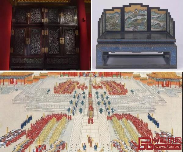 紫檀雕龙顶箱立柜(左上)、紫檀嵌珐琅宝座(右上)和《皇后妆奁图》(下)