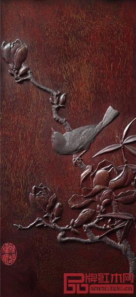 """梅兰竹菊家具的雕刻工艺主要采用了""""丝翎檀雕"""""""