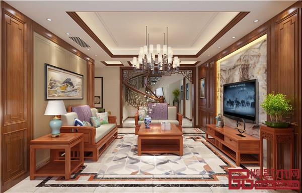 双洋红木中式家装客厅效果