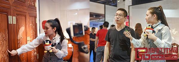 腾讯家居记者走进2019中山红博会,通过直播介绍各大品牌的产品特色和加盟选购优惠等