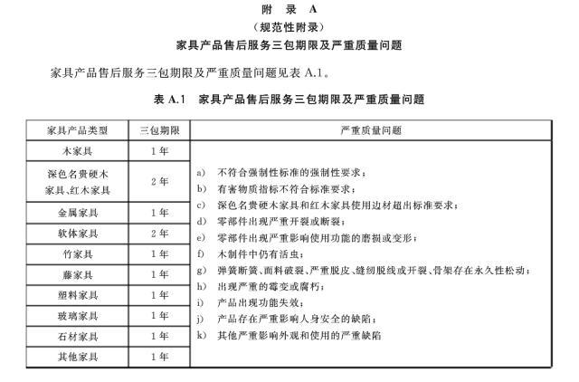 《家具售后服务要求》国家标准部分截图