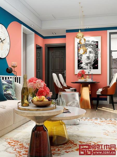 明亮、充满活力又有表现力的珊瑚橘可在娱乐室、客厅、厨房、餐厅等使用