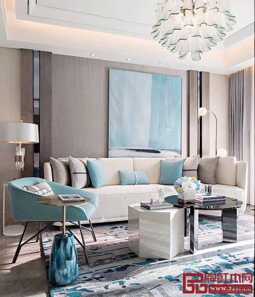 浅色调的蒂芙尼蓝,用点缀的方式,让空间更具韵味、美感