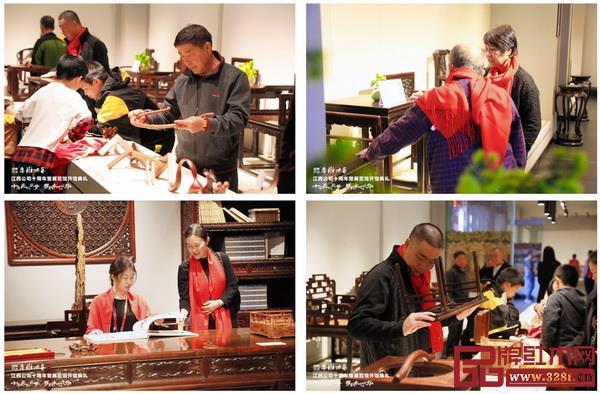 参加活动的嘉宾参观鲁班木艺展览馆,对做工精湛的千赢国际入口家具赞叹不已