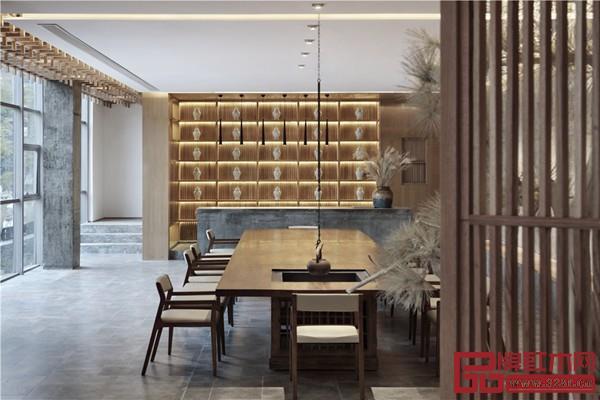 中式简约风格的大开敞的聚会空间