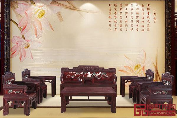 小叶紫檀镶玉石提子宝座沙发(波记家具)
