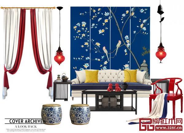 红木家具配什么颜色的窗帘好看?红木家具搭配窗帘效果图