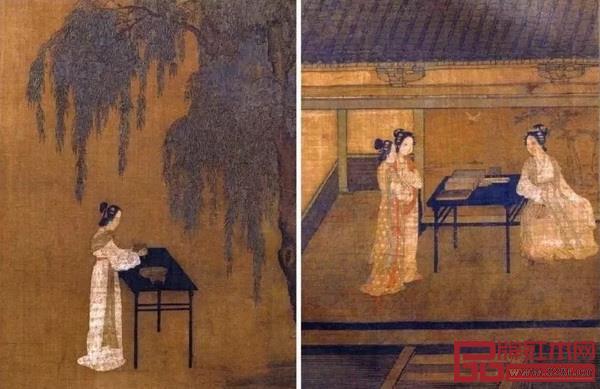 南宋《女孝经图卷》中的黑漆细腿书桌、香桌