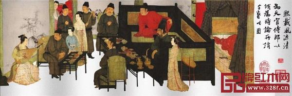 """《韩熙载夜宴图》的""""听乐""""部分"""