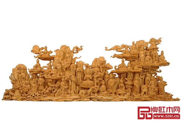 林庆财大师大型檀香木雕作品《三十三观音》