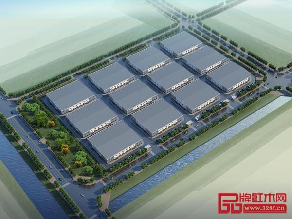 郦泰鸿红木产业园内企业工厂鸟瞰图