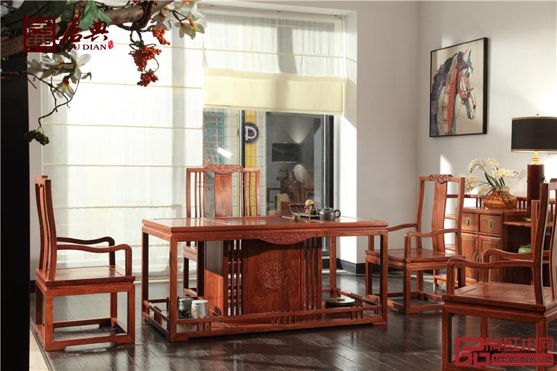 居典红木 刺猬紫檀茶台茶桌