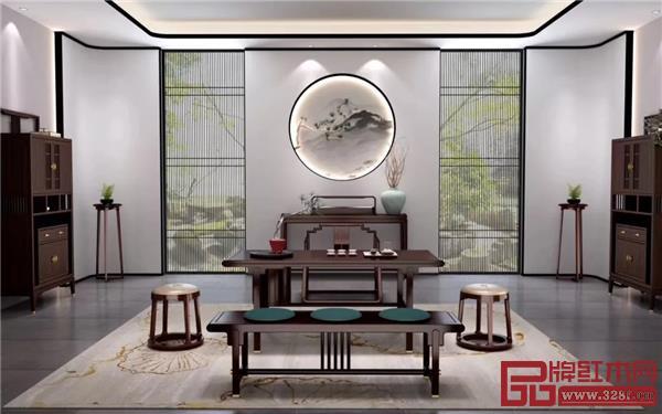华行红木阔叶黄檀现代中式《锦时》系列