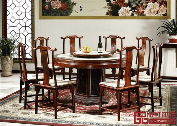 御乾堂大红酸枝明式简雅1.38米大理石面圆桌