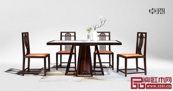 卓阅新中式阔叶黄檀餐桌