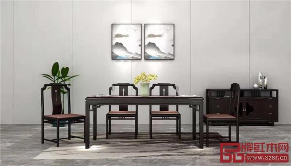 新明红木·墨语印尼黑酸枝(阔叶黄檀)餐桌