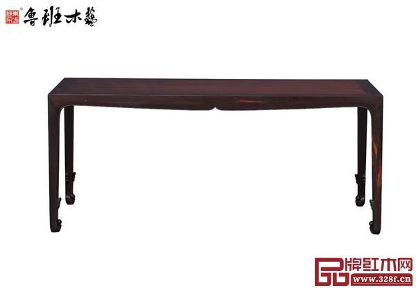 鲁班木艺大红酸枝宋式卷珠足画桌