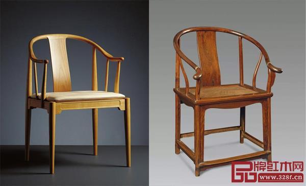 汉斯·魏格纳中国椅(左)、明式圈椅