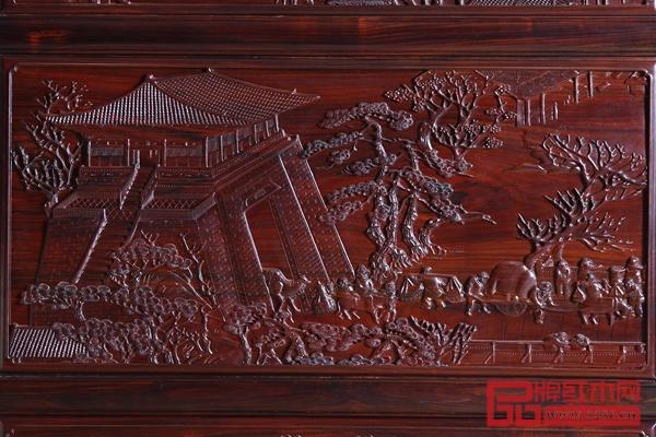 《大红酸枝·大卷书沙发》(局部)