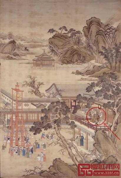 清 郎世宁 乾隆帝元宵行乐图·局部   纵302厘米 横204.3厘米  绢