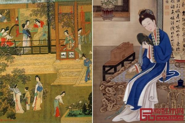 仇英《贵妃晓妆》(左)《胤禛美人图-裘装对镜》(右)