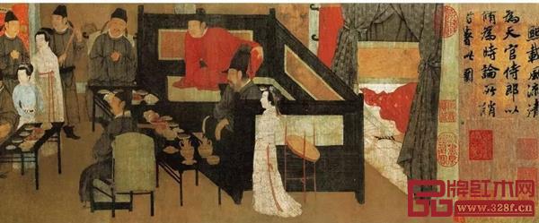 《韩熙载夜宴图》中的三屏风床榻